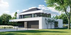 DOM.PL™ - Projekt domu CPT HomeKONCEPT-37 CE - DOM CP1-42 - gotowy koszt budowy Modern Family House, Modern House Plans, Mansion Designs, 2 Storey House Design, Woodland House, Home Fashion, My Dream Home, Exterior Design, Architecture Design