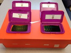 Sorting Box- a cool way to use diaper wipe lids!  I cut holes in the top of a shoe box, glued the lids on, and put small boxes within the shoe box to capture the cards that the student sorts so that I can keep data on this independent work box. Versatile- change the symbols for all sorts of sorting activities. Close some of the lids if you need only one or two choices! (Just a picture, no link)