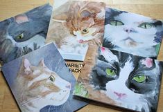 Adorable Cats Watercolor Note Cards Variety Pack 5 Blank Cat