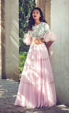 Bollywood Style Pink Colour Orgenza Lehenga by on Etsy Indian Gowns Dresses, Indian Fashion Dresses, Indian Designer Outfits, Designer Dresses, Indian Designers, Designer Sarees, Lehnga Dress, Lehenga Blouse, Lehenga Choli