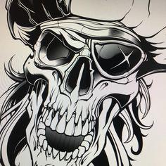 "733 To se mi líbí, 5 komentářů – Jared Mirabile (@sweyda) na Instagramu: ""Base black line down. Time for details. #pencil #sketch #skull to #vector #illustration #pirate…"""