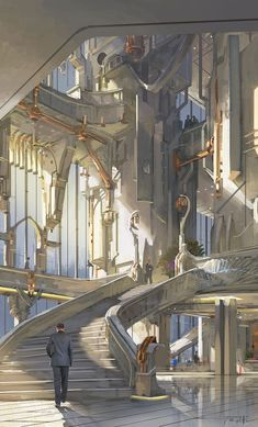 Essentials of Digital Painting Course - Digital Visionary Art Fantasy City, Fantasy Castle, Fantasy Places, Fantasy World, Disney Fantasy, Fantasy Art Landscapes, Fantasy Landscape, Futuristic City, Futuristic Architecture