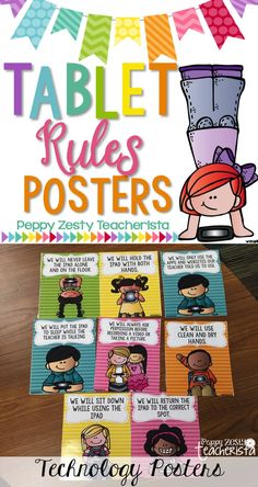 Integrate Digital Citizenship and technology rules with these color and black/white posters!