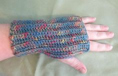 Gray WIth Primary Colors Fingerless Gloves by NiftyNeedlework