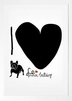 FRENCH BULLDOG france art print i love by nicemiceforyou, $20.00