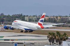 British Airways Super Speedbird gliding over the keys on 24L at LAX on May 9, 2015.