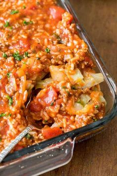 Unstuffed Cabbage Roll Casserole Beef Dishes, Food Dishes, Main Dishes, Beef Recipes, Cooking Recipes, Healthy Recipes, Pastry Recipes, Cooking Ideas, Fish Recipes