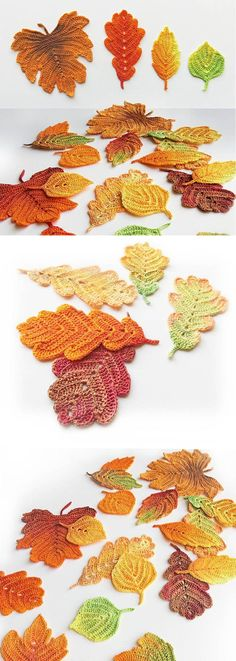 Crochet Flowers Ideas These crochet autumn leaves would be gorgeous scattered on the buffet this Thanksgiving. Crochet Leaf Patterns, Crochet Leaves, Crochet Fall, Holiday Crochet, Irish Crochet, Crochet Flowers, Knitting Patterns, Knit Crochet, Freeform Crochet
