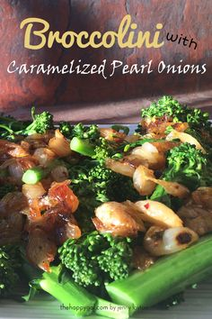 Broccolini with caramelized pearl onions make a delicious side dish.