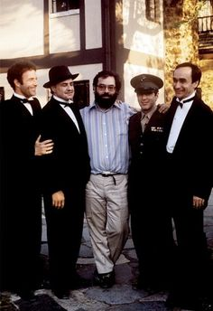 "James Caan, Marlon Brando, Francis Ford Coppola, Al Pacino, John Cazale. ""The Godfather"" directed by Francis Ford Coppola. Behind the scenes photos. Al Pacino, Great Films, Good Movies, I Love Cinema, Movie Stars, Movie Tv, Godfather Movie, Godfather Series, Godfather Actors"
