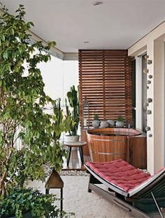 Ofurô Spas, Cozy Patio, Apartment Balconies, Outdoor Spaces, Outdoor Decor, Terrace Design, Big Houses, Home Projects, Decoration