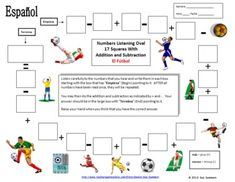Spanish Numbers and Math Listening Activity - Soccer Theme by Sue Summers, el fútbol Spanish Teaching Resources, Spanish Activities, Learning Activities, Teaching Ideas, Spanish Worksheets, Spanish Games, Addition And Subtraction Practice, Spanish Numbers, Spanish Grammar