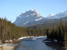 #hiking #ExploreAlberta - Castle Mountain above the Bow River in Banff National Park west of Calgary, Alberta, Canada.