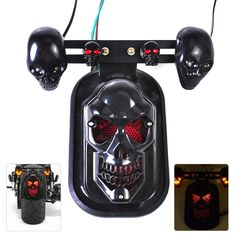Universal New Motorcycle Rear Black Skull Brake Tail Light Turn Signal Kit fit for Harley Bobber Honda Kawasaki Yamaha Suzuki