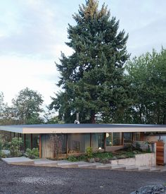 The driveway leads down a gentle slope to the garage, which is partially tucked into the earth, covered by a green roof