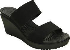 75c74608250ae3 Womens Crocs Leigh II 2-strap Wedge Sandal - Black Black - FREE Shipping