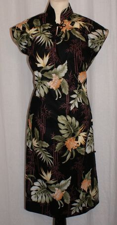 Vintage 1950s inspired Hawaiian tea timer wiggle dress black bamboo and hibicus S to XXL rockabilly VLV by OuterLimitz on Etsy
