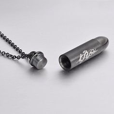 BLACK Stainless Steel Detachable Cremation Urn Dragon Bullet Cylinder Pendant Necklace 22 inch Chain | Amazon.com