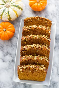 Pumpkin Bread. Reduced white sugar by 1/4 cup, added a bit more flour, no orange extract, no pepitas. Good amount of spice.