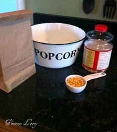 """DIY Microwave Popcorn  (some tips I have learned from other places: fit a second paper bag down over the first to make a """"box"""" and no kernals escape in the microwave.  DO NOT use recycled paper because the little bits of metal can wreck your microwave)"""