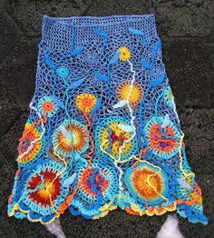 crochet skirt This skirt is crocheted from different sized motifs and embellished with surface crochet