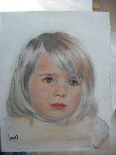 """retrato de niña """"nma"""" por Inma Pascual Aparici 2014 ,técnica mixta 80 x 60 cm"""