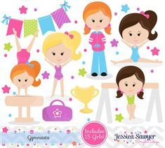 Love these for a Gymnastics Party! Gymnastics Clipart clip art, girls little tumbler clipart, tumbling graphics for invitations