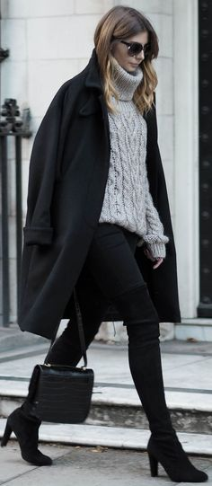 Grey, Cable-Knit Turtleneck Sweater / fall fashion Inspiration.