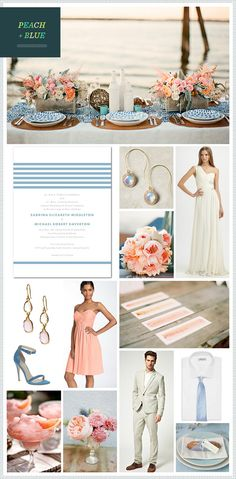 Peach + Blue wedding inspiration, like the color combination for spring