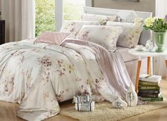 High Quality Comfortable Elegant Leaves Patterns 4 Pieces Tencel Bedding Sets