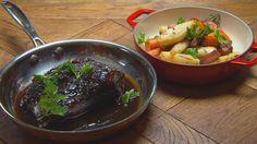 Braisé de bœuf au vin rouge, céleri-rave, carotte et lardon