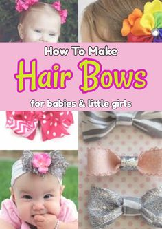 How To Make Hair Bows for Babies & Hair Bows Out Of Ribbon (EASY DIY) How to make hair bows for babies, toddlers and little girls - DIY ideas for infant hair bows, cheer bows, boutique bows, holiday bows and more homemade bows ideas Toddler Hair Bows, Baby Hair Bows, Baby Headbands, Infant Hair Bows, Toddler Girls, Baby Girls, Flower Headbands, Newborn Hair Bows, Girls Bows