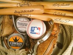 MAJOR LEAGUE BASEBALL  Here's how you Soften up that  Cow-hide Leather; Cowboy Coffee Chew Baseball Bats & A Set of Spurs Postseason & Playoffs & WORLD SERIES Championship  #MLBWildCard #mlb  #coffee #rodeo