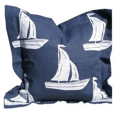 Sailboat Pillow in White on Blue
