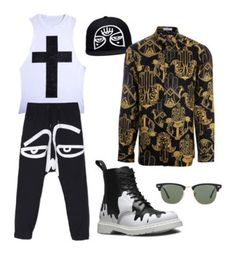 """""""Street style"""" by jaime-cliprince ❤ liked on Polyvore featuring Dr. Martens, Ray-Ban, Versace, men's fashion and menswear"""