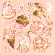 """It's gonna be spring soon! the cherry blossom are blooming, so have some seasonal sakura dessert! Cute Food Drawings, Cute Kawaii Drawings, Kawaii Doodles, Cute Doodles, Cute Animal Drawings, Kawaii Art, Aesthetic Anime, Aesthetic Art, Sakura Mochi"
