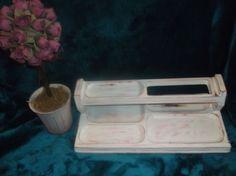 $1.99 Jewelry Holder Vintage Desk Organizer Dresser Caddy Letter Wood Hand painted #Unbranded