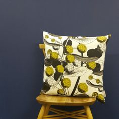 'Acacia' Cushion - Mustard on Off-White Linen