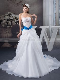Organza Satin Strapless Wedding Dress with Lace Top and Bowknot Sash