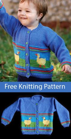 Free Knitting Pattern for Duck Cardigan for Children - Long-sleeved cardigan swe. Free Knitting Pattern for Duck Cardigan for Children - Long-sleeved cardigan sweater for children with intarsian ducks. Free Childrens Knitting Patterns, Baby Cardigan Knitting Pattern Free, Baby Sweater Patterns, Knit Baby Sweaters, Knitting For Kids, Free Knitting, Baby Boy Sweater, Start Knitting, Cardigan Bebe
