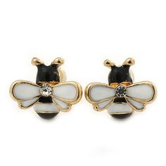 Amazon.com: Children's/ Teen's / Kid's Tiny Black/ White Enamel 'Bee' Stud Earrings In Gold Plating - 10mm Diameter: Jewelry
