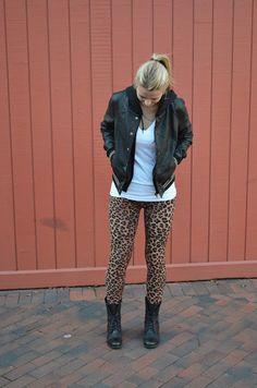 leopard leggings +boots + leather coat