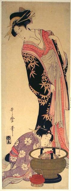Kitagawa Utamaro (1756-1806), Blowing up the Fire. woodblock