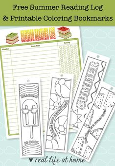 Summer reading is fun! This post has a free printable summer reading log and printable bookmarks to color that aresummer-themed. There are also more ideas for summer reading fun. #SummerReading #PrintableBookmarks #ColoringPages #SummerFun #SummerActivities #ReadingBookmarks #BookmarksToColor