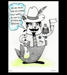Sultan Mermaid by Morten Løfberg    Silk screen print on white 270 gr/m paper. A4.   Edition of 30, all numbered and signed.   Each uniquely coloured by hand in a variety of techniques.   This is number 18 of 30 and is coloured with watercolour.    For more art and updates from Morten Løfberg:   www.loefberg.dk   www.facebook.com/kunst.og.kuglepenne