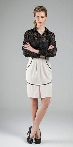 Camisa: Transparência Devorê des 5 e Gloss Span /// Saia: Alfaiataria Modernity e Malha Royal Leather #transparencias #camisaria #alfaiatarias #classico #elegancia #estilo