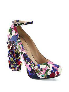 cb0abbc92 Nicholas Kirkwood - Erdem Millian Floral-Print Satin & Paillette Heel Pumps
