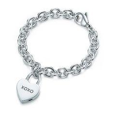 Tiffany XOXO Heart Lock Charm Silver Bracelet