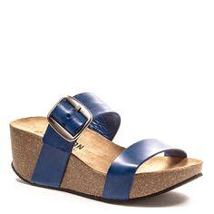 Sandales compensées Plakton So Rock bleu nuit