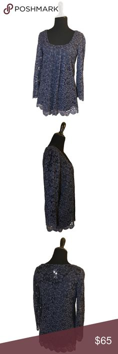 """DVF """"Hasina"""" Lace Top Blue Diane von Furstenberg lace Hasina top with long sleeves and scoop neck. Includes slip. Diane von Furstenberg Tops Blouses"""
